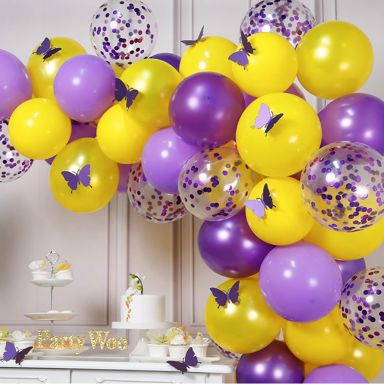 82 Piezas Lilac Globos Globo Violeta Globos Amarillos Globos Confeti para Decoracion Fiesta Morado Decoracion Fiesta Mariposas Decoracion Cumplea/ños Rapunzel PartyWoo Globos Morados Amarillo