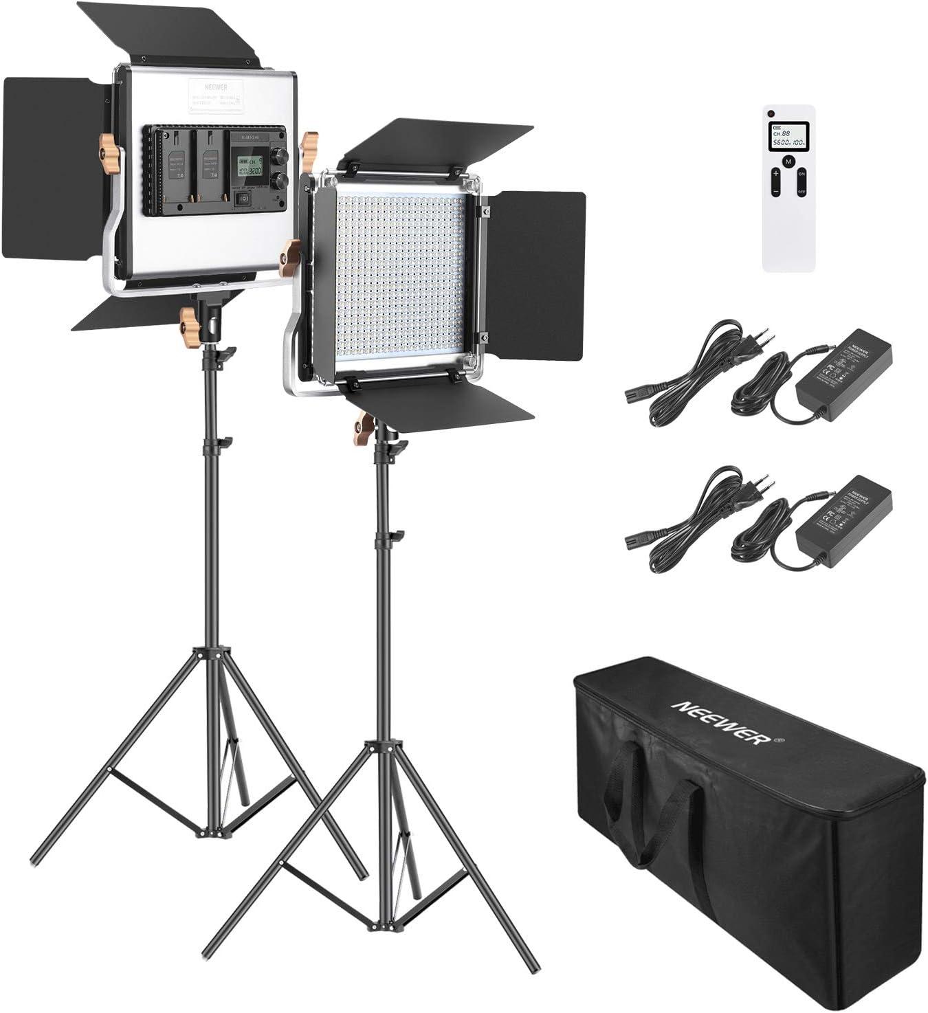 Neewer 2 Packs Avanzado 2,4G 480 LED Video Luz Fotografía Kit Iluminación con Bolsa Panel LED Bicolor Regulable con Pantalla LCD 2,4G Control Remoto Inalámbrico y Soporte Luz para Fotografía