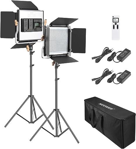 Neewer 2 Packs Avanzado 2,4G 480 LED Video Luz Fotografía Kit Iluminación con Bolsa Panel LED Bicolor Regulable con Pantalla LCD 2,4G Control Remoto Inalámbrico y Soporte Luz para Fotografía: Amazon.es: Electrónica
