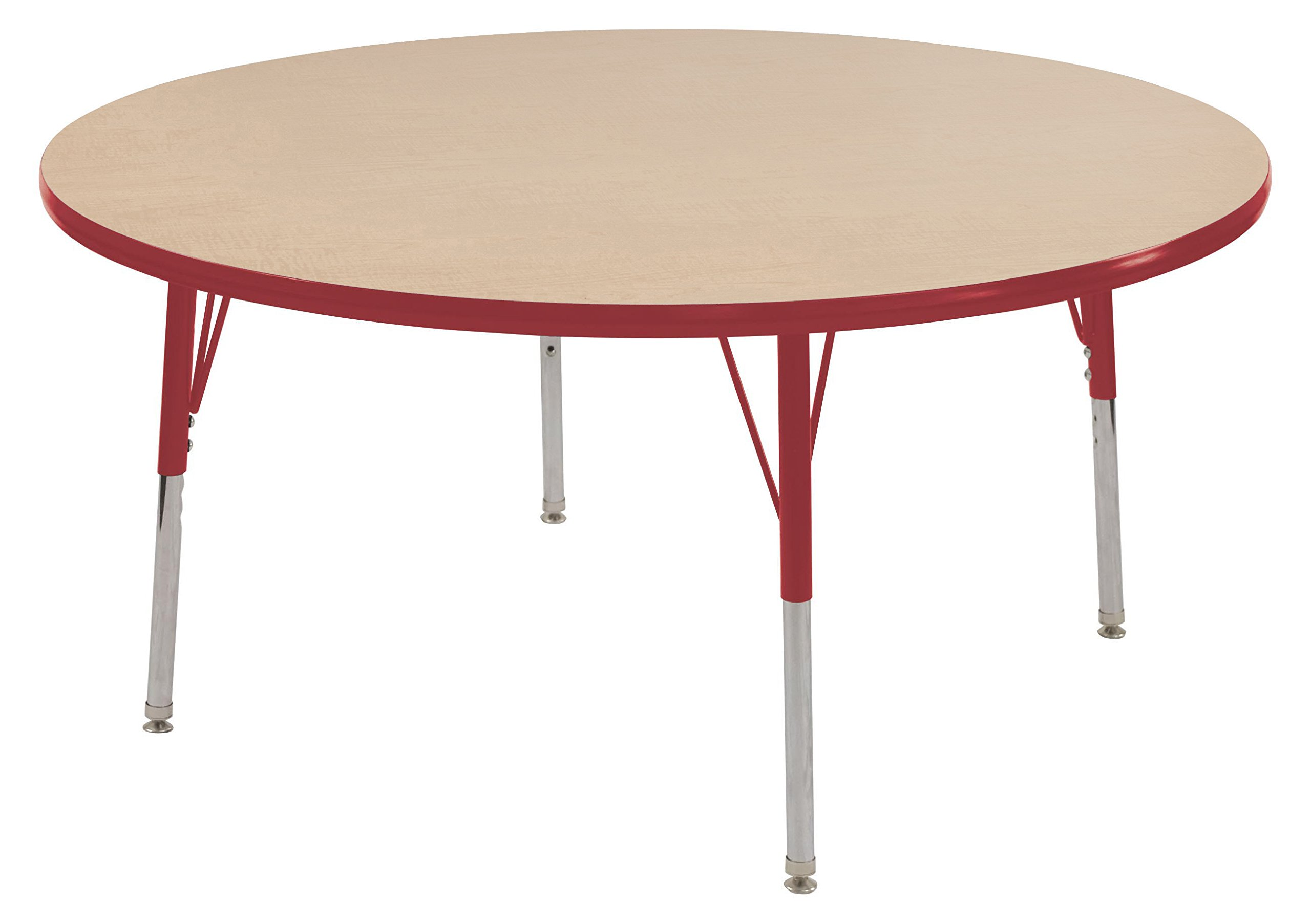ECR4Kids T-Mold 60'' Round Activity School Table, Standard Legs w/ Swivel Glides, Adjustable Height 19-30 inch (Maple/Red)