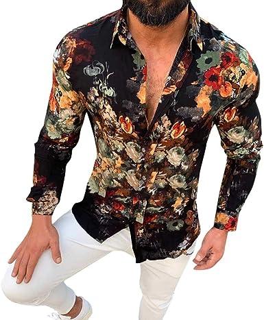 waotier Camisas Casual Camisa Hawaiana Hombre Casual Slim Fit ...
