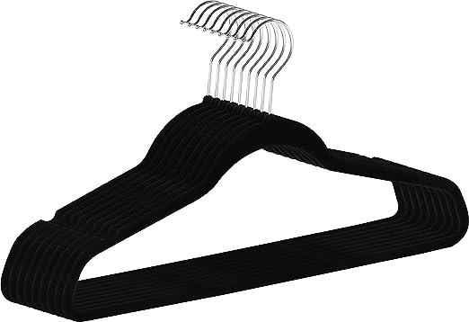 Black Velvet Non Slip Space Saving Lightweight /& Durable Suit Clothes Hangers
