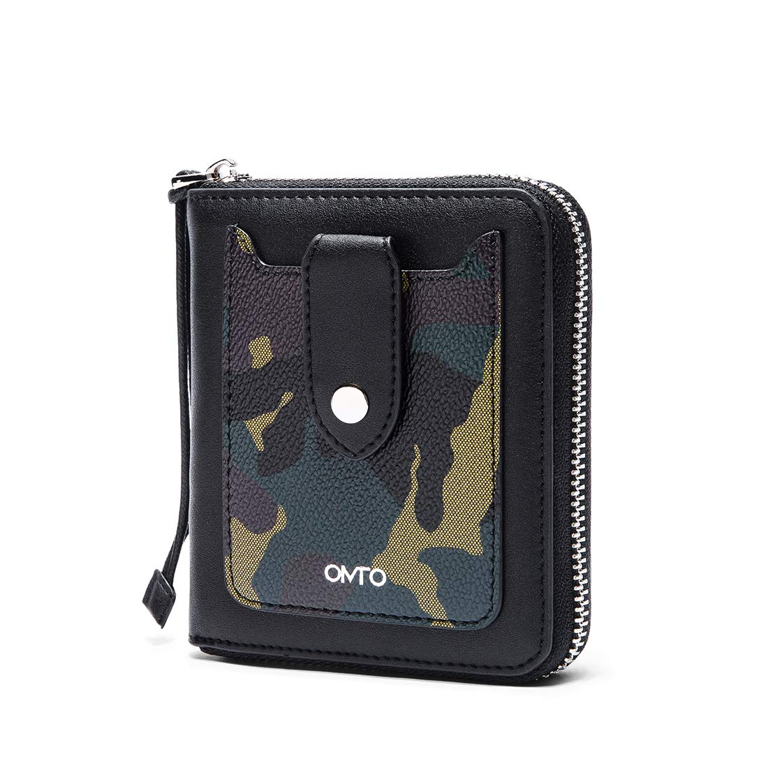 Women Genuine Leather Zipper Wallets Camo Card Holder Short Clutch Purse with Front Pocket