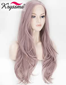 K'ryssma Ash Purple Lace Front Wig Fashionable Long Natural Straight Synthetic Wigs for Women Left Side Part Heat Resistant 22 Inch
