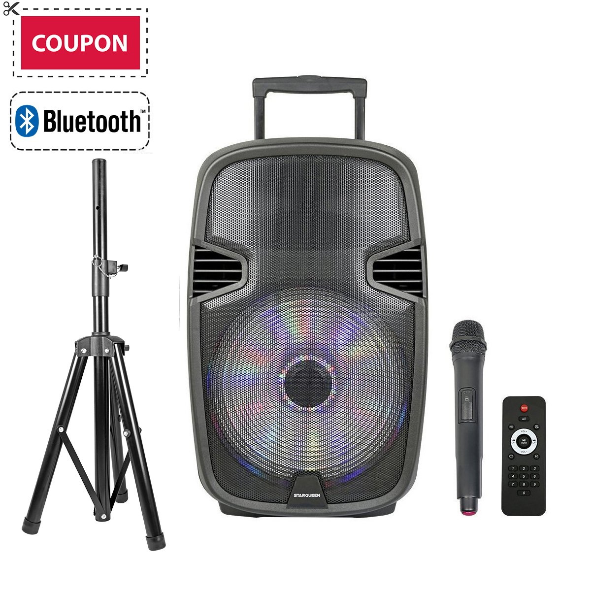 STARQUEEN 15'' Portable Outdoor Bluetooth PA Speaker System, with Wireless Microphone and Party Lights for Karaoke, USB/SD/FM Radio Function, Mic/Guitar Jack, Tripod Stand Included - Black
