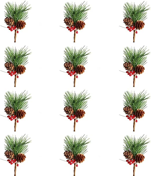Amazon Com 12pcs Artificial Pine Picks Small Fake Berries Pinecones For Wedding Garden Christmas Tree Filler Decorations Home Kitchen