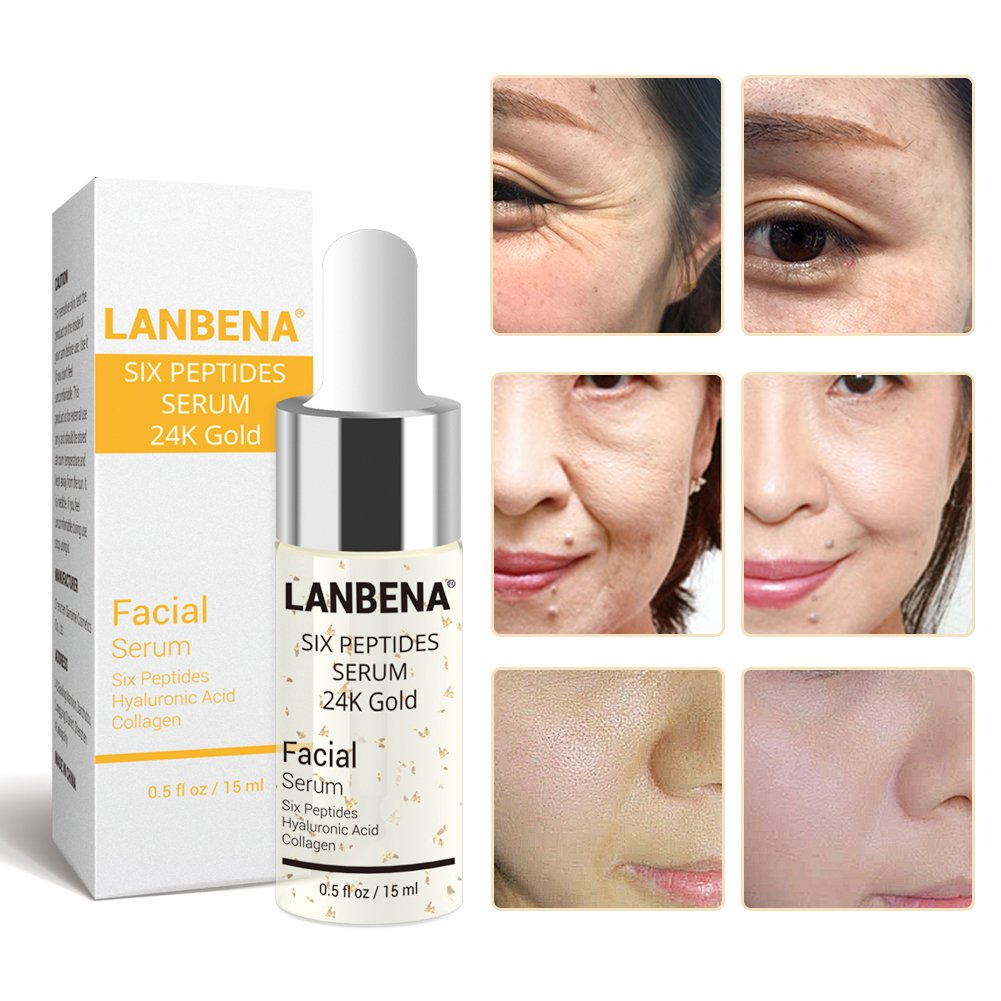 Amazon Com Lanbena Face Skin Care Products Liquid Six Peptides Serum 24k Gold For Striae Anti Wrinkle Cream Anti Aging Collagen 1 Pc Beauty