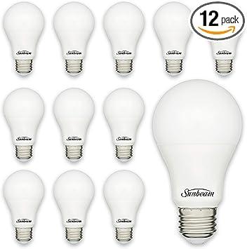 Sunbeam 16895 9W LED Day Light 5000K 60 W Equivalent, 25000 Hours, 800 Lumens, Medium Base, A19 Light Bulb 12-Pack