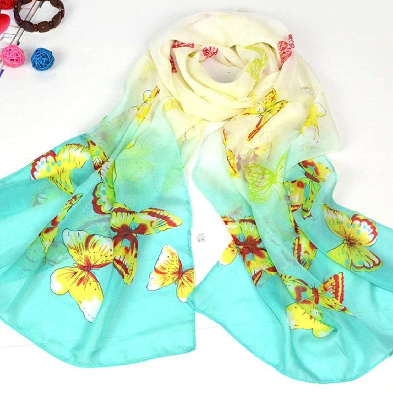 DZT1968@Spring Summer Autumn Winter Women Girl Printed Butterfly Long Chiffon Shawl Scarf Pashmina (SkyBlue)