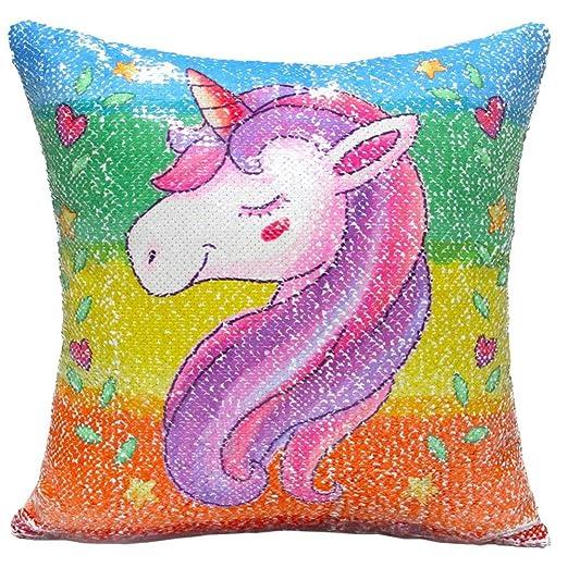 Yililay Lentejuela Unicornio Funda de Almohada Reversible ...