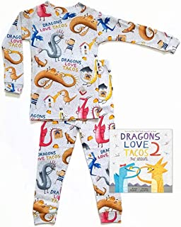 product image for Books to Bed Boy's Dragons Love Tacos Two Pajama and Book Set,Gray,4