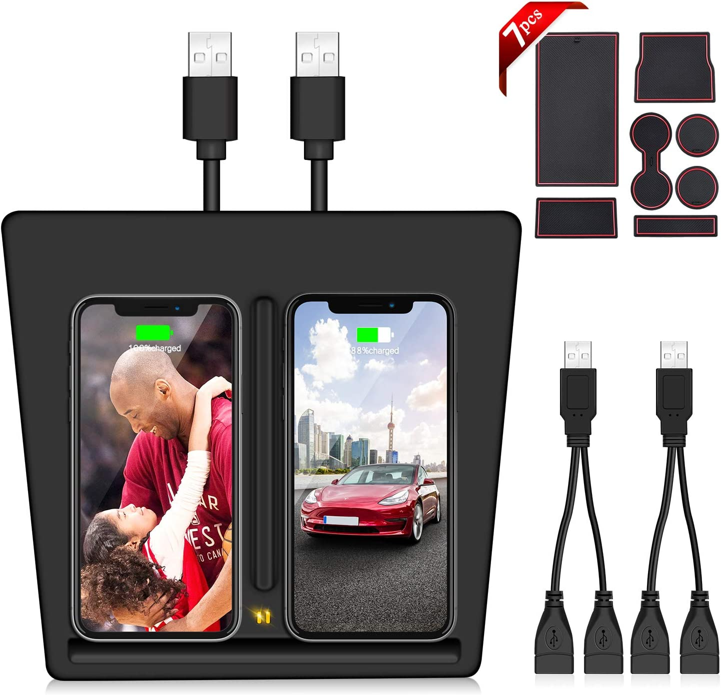 Fast QI Wireless Charging Pad Car Wireless Charger Panel for Tesla Model 3 with Custom Fit Cup and Center Console Liner Accessories Dual 10W Wireless Charger Compatible with Tesla Model 3