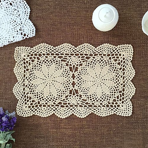 Crocheted Table - yazi Placemats for Dining Table Handmade Cotton Placemats Doily Crochet Lace Table Doilies Square Coasters Beige 10inches by 16inches