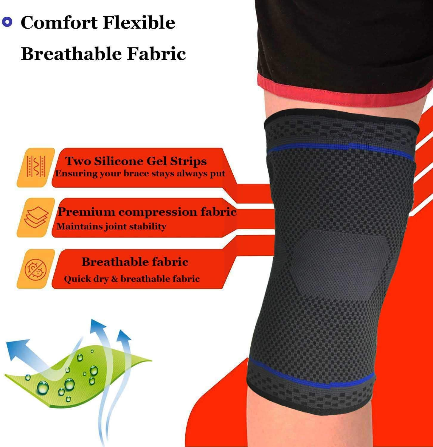 Sports Injury Recovery Joint Pain Relief Meniscus Tear Best Knee Braces for Men Women Medical Grade Knee Support Protector for Running Arthritis Professional Knee Brace Compression Sleeve