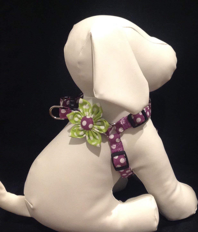 Step In Dog Harness Flower Set - Plum And White Polka Dot - Sizes XXS, XS, S, M