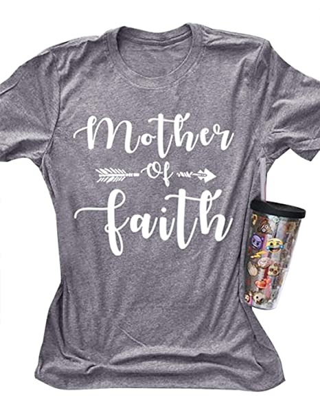 460c746c7c Women Short Sleeve Casual T-Shirt Tops Mother of Faith Arrow Graphic Crew  Neck Solid Blouse Tee at Amazon Women's Clothing store: