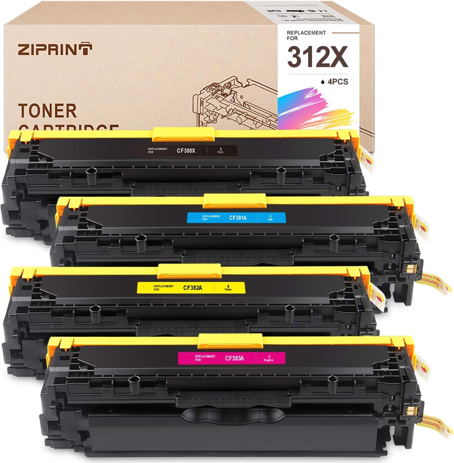 ZIPRINT Remanufactured Toner Cartridge Replacement for HP 312A 312X CF380X CF381A CF382A CF383A Toner use with HP Color Laser Jet Pro MFP M476nw M476dn M476dw Printers (4-Pack)