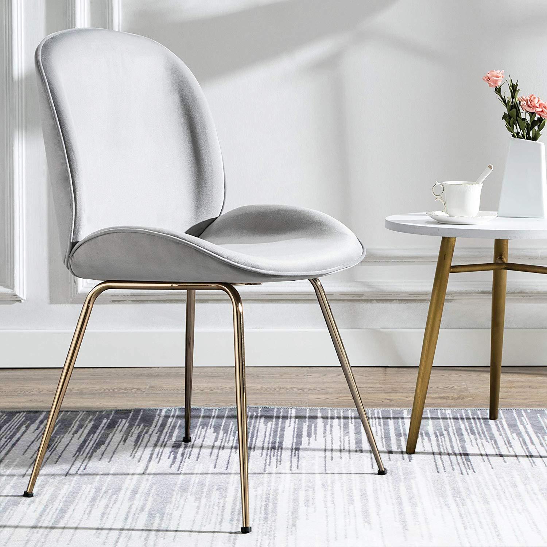 Art Leon Velvet Chair Soft Upholstered Modern Shell Beetle Leisure Chair with Gold Legs for Living Dining Room Bedroom Dresser Silver Grey
