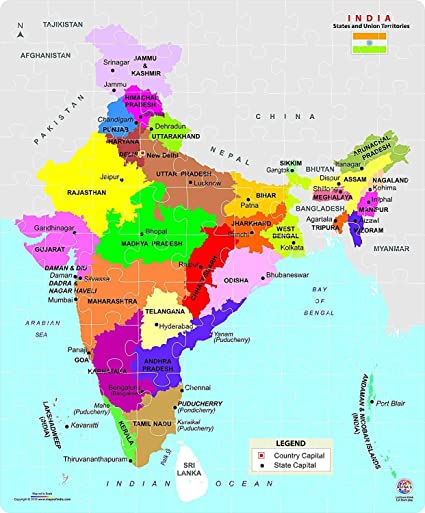 Krireen Educational Gegoraphy India Map Jigsaw Puzzle for Kids (99 Pieces Set, Multicolour)