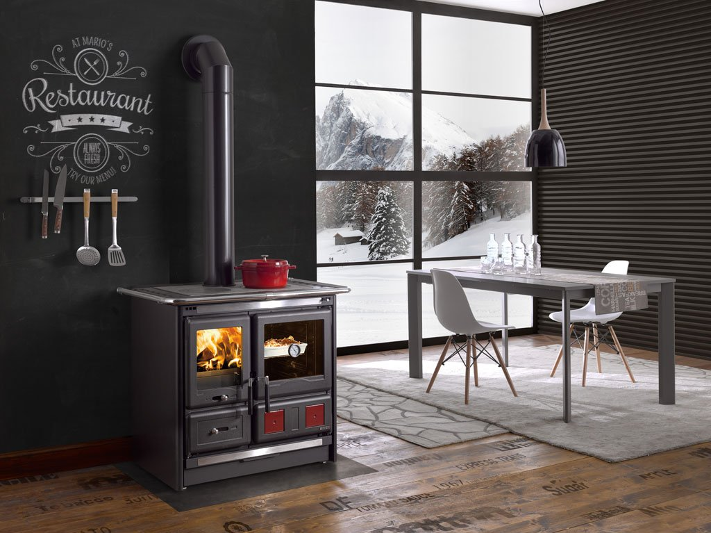 "Wood Burning Cook Stove La Nordica ""Rosa L"", with Baking Oven"