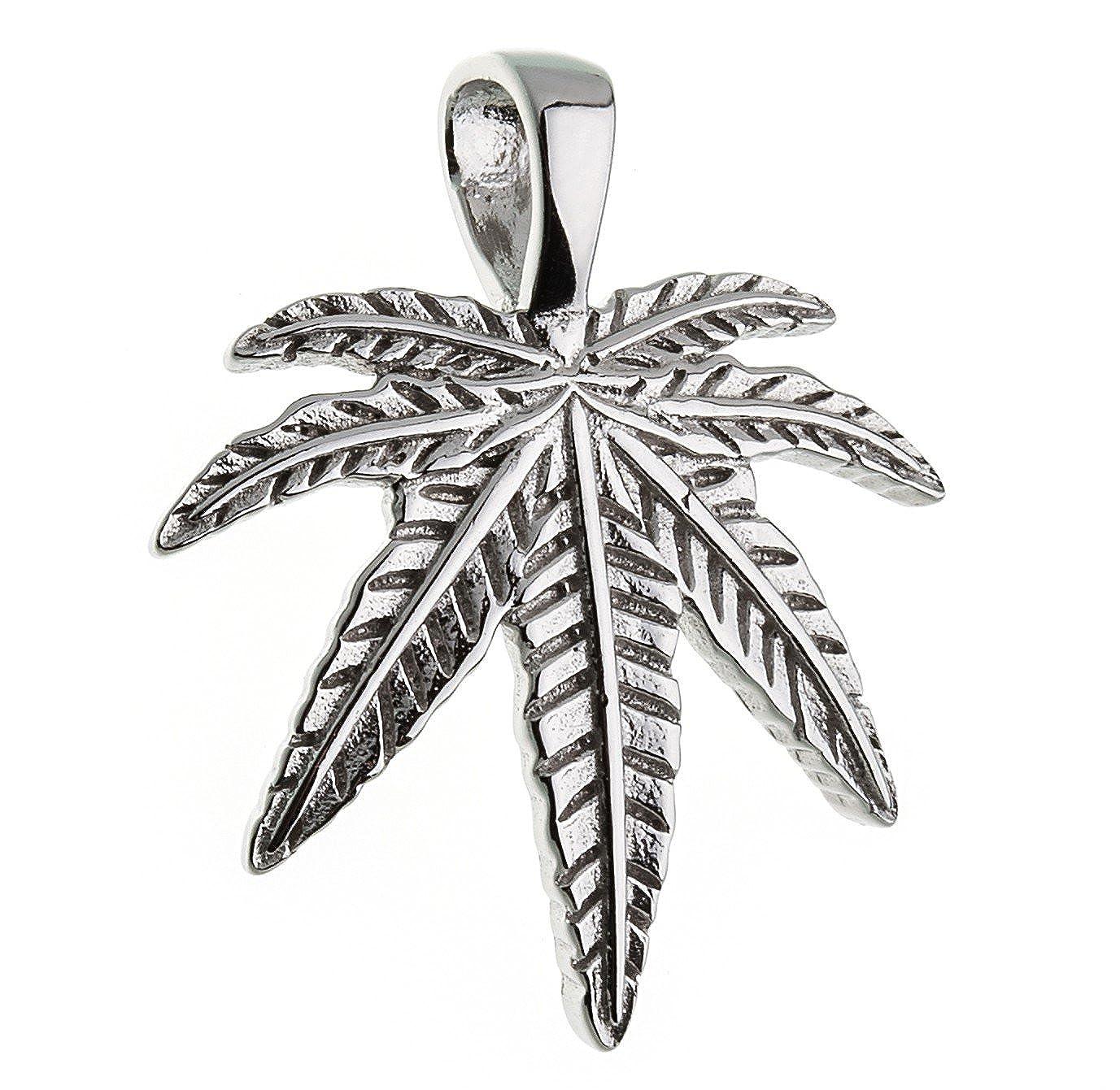 Anhänger Hanfblatt, Cannabisblatt - echt 925 Silber Anhänger Hanfblatt Silberketten-Store AnhHanf
