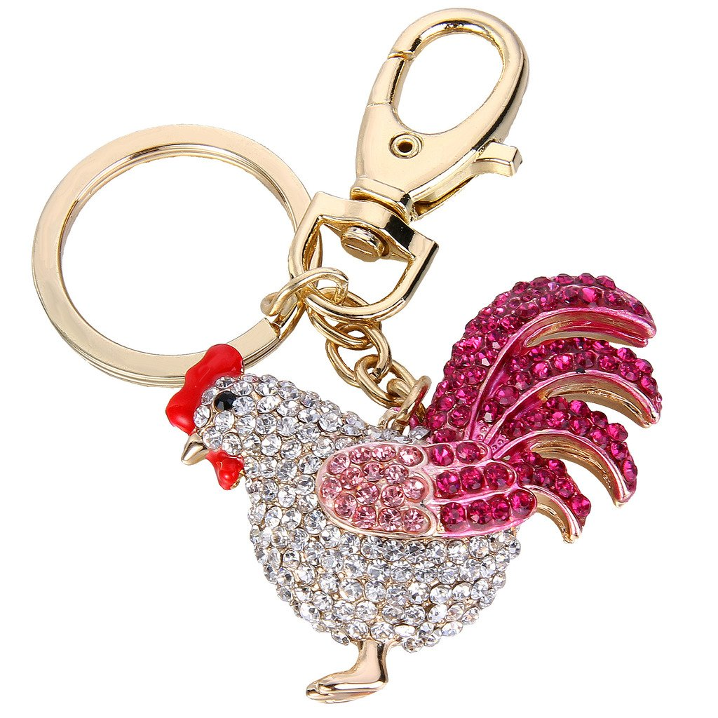 EVER FAITH Women's Austrian Crystal Rooster Keychain Pink Gold-Tone