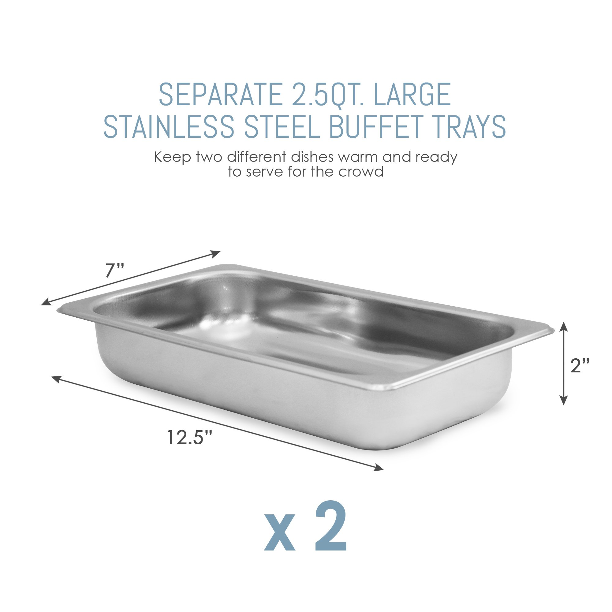 Elite Gourmet EWM-6122 Dual Server Food Warmer, Adjustable Temp For For Parties & Holidays, 2 x 2.5Qt Buffet Trays with Slotted Lids, Perfect for Parties, Entertaining & Holidays, Stainless Steel by Elite Gourmet (Image #4)
