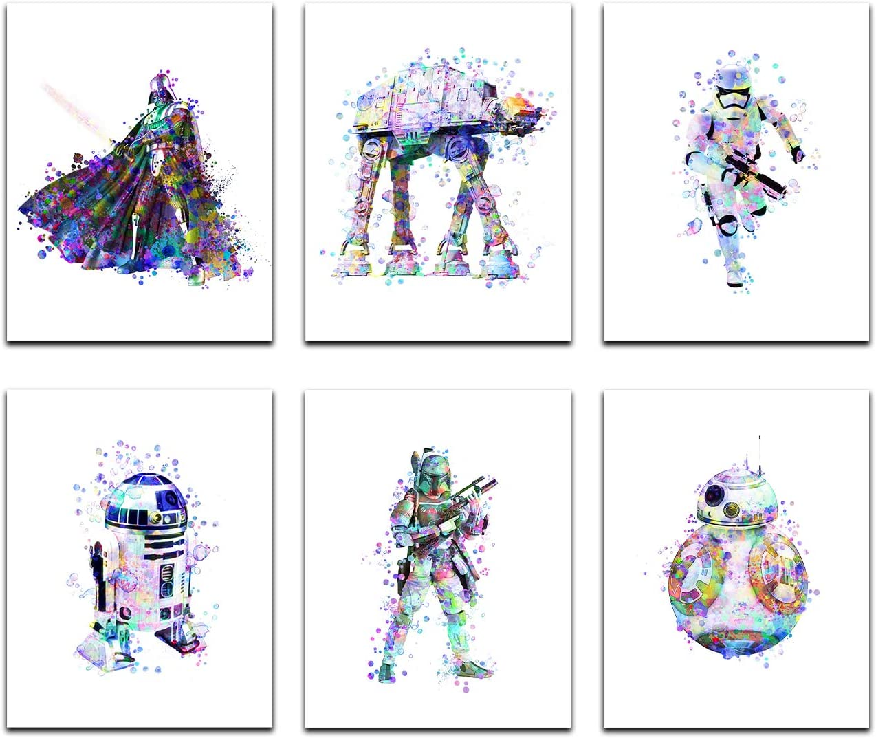 Star Wars Poster Watercolor Prints - Unframed Set Of 6 (8 X 10 Inch) - Star Wars Decor - Bathroom, Bedroom Living Room Decor, Birthday Gift - Darth Vader, Stormtrooper, Boba Fett, ATAT R2D2, BB8