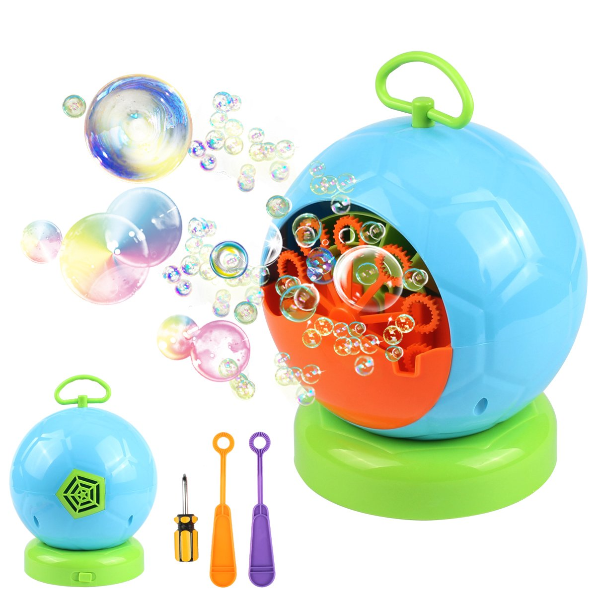 AMOSTING Bubble Machine Automatic Bubbles Blower for Kids Outdoor Toys Party Supplies Bubble Maker with Bubble Wands by AMOSTING (Image #1)