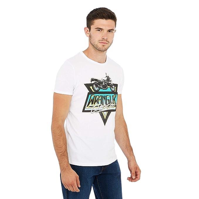 ef667c61 Wrangler Men White Motorbike Print Cotton T-Shirt: Wrangler: Amazon.co.uk:  Clothing