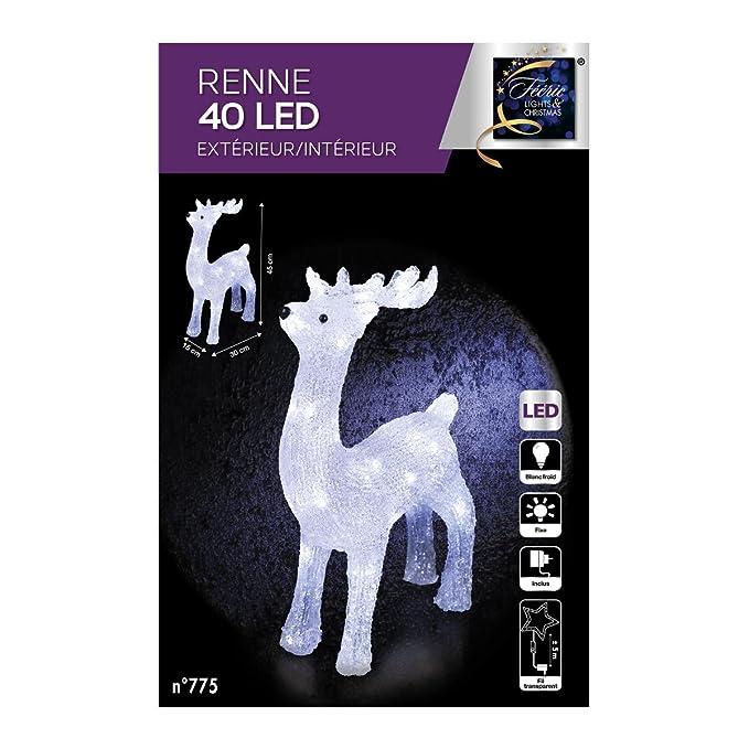 eb99604feb4 DECORACION DE NAVIDAD - RENO luminoso - efecto escarcha - 40 bonbillas LED  Blancas  Amazon.es  Hogar