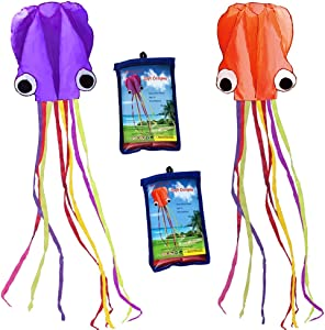 Hengda kite Pack 2 Colors autiful Large Easy Flyer Kite for Kids-software octopus-It's BIG! 31 Inches Wide with Long Tail 157 Inches Long-Perfect for Beach or Park by
