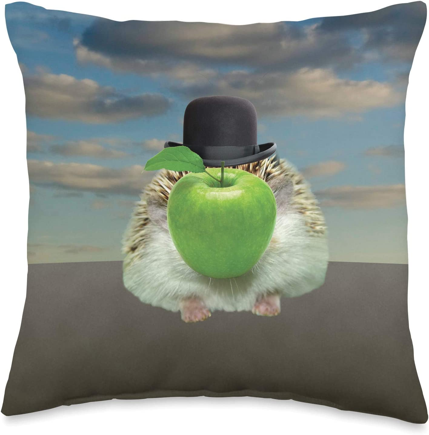 Urchin Wear Hedgehog Magritte The Apple Throw Pillow, 16x16, Multicolor