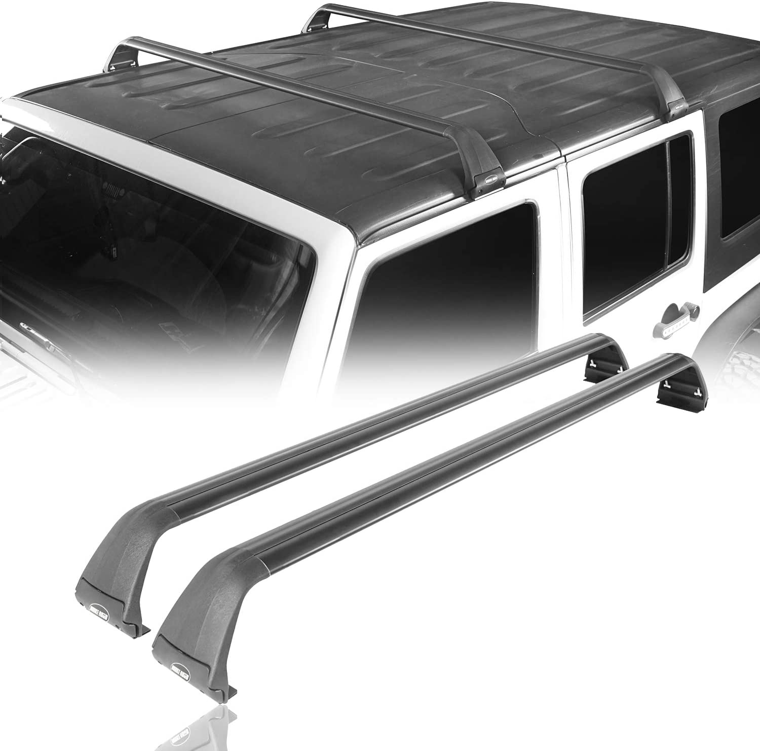 Amazon Com Hooke Road Removable Roof Rack Cross Bars Kayak Cargo Carriers For Hard Top Compatible With Jeep Wrangler Jk Jl Gladiator Jt 2007 2021 Automotive