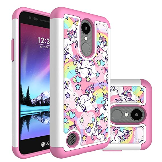 online retailer 7ff19 bcac0 LG Phoenix 3 Case, LG Fortune Case, LG Risio 2 Case, LG K4 2017 Case, Heavy  Duty Shockproof Studded Rhinestone Bling Hybrid Case Silicone Protective ...