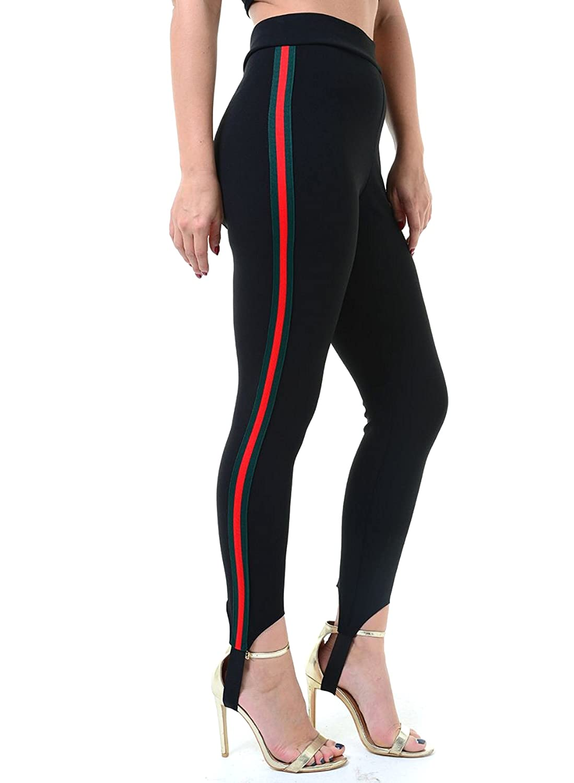 fe237c88f6f55 Amazon.com: Trendy Womens Red/Green Stripe Ski Leggings Training Pants:  Clothing