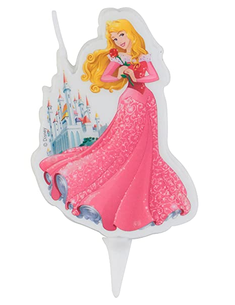 Dekora 346190 Vela de Cumpleaños 2D Princesa Aurora Disney-La, Cera, Multicolor, 7.5 cm