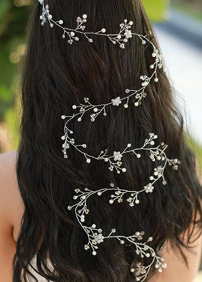 Amazon.com   FXmimior Bridal Wedding Extra Long Hair Vine Rhinestone Flower  Crystal Head Piece Women Jewelry Wedding Tiaras Crown Accessories   Beauty feb2cdfbae0a
