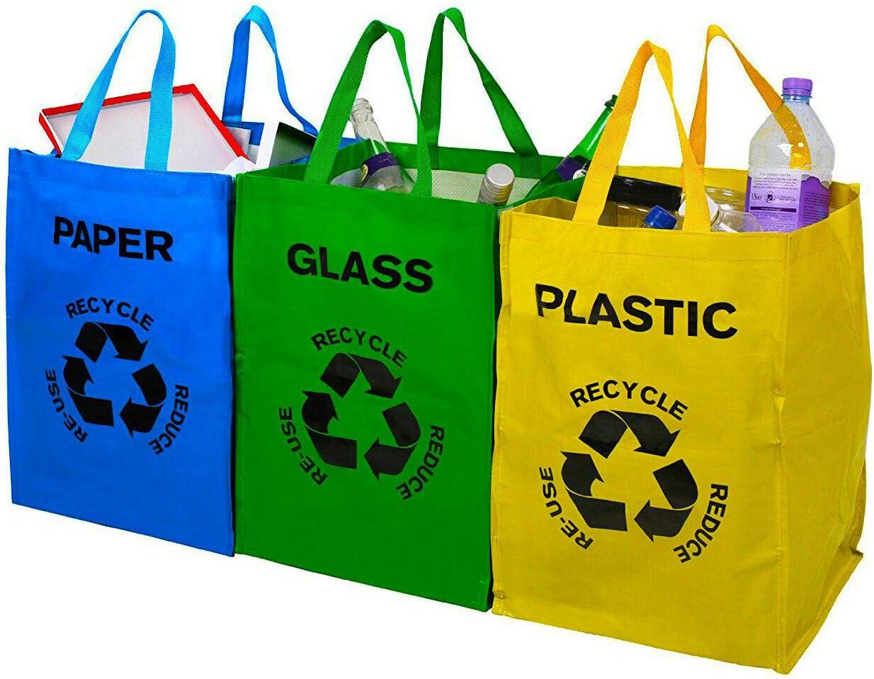 Juego de 3 bolsas de colores para reciclado de cristal, plástico y ...