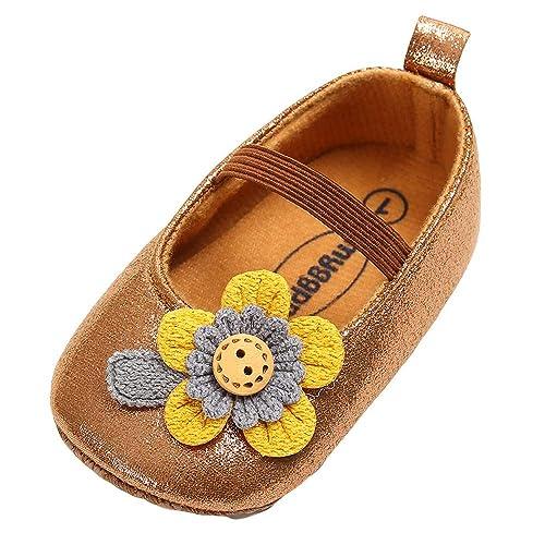 Mitlfuny Invierno Otoño Unisex Princesa Flores Primeros Pasos Zapatos de Cuero para Bebé Zapatillas Antideslizantes Calzado Niños Niñas Elástico Cordones ...