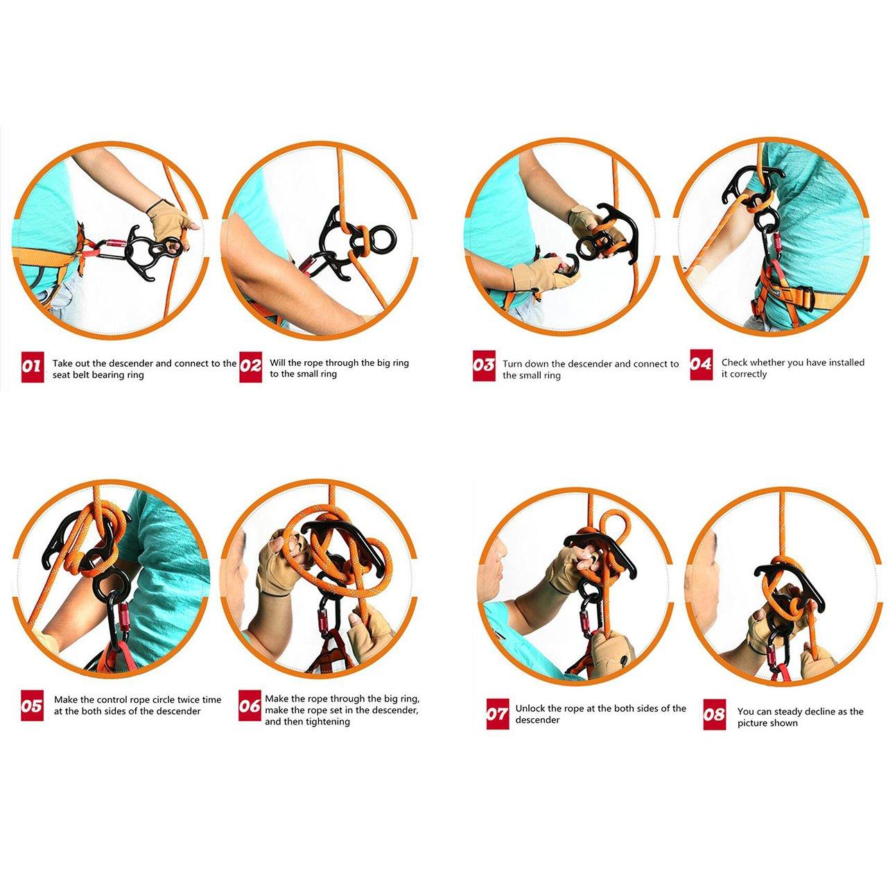 Tofree Klettern Ausr/üstung 8 Wort Ring 50KN Mountaineer Klettern Abseilger/ät Aluminium magnesiumlegierung f/ür unser Klettern im Freien(Schwarz )