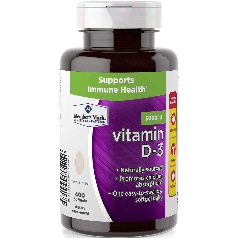 Members Mark Vitamin D-3 5000 IU, 400 Softgels Dietary Supplement
