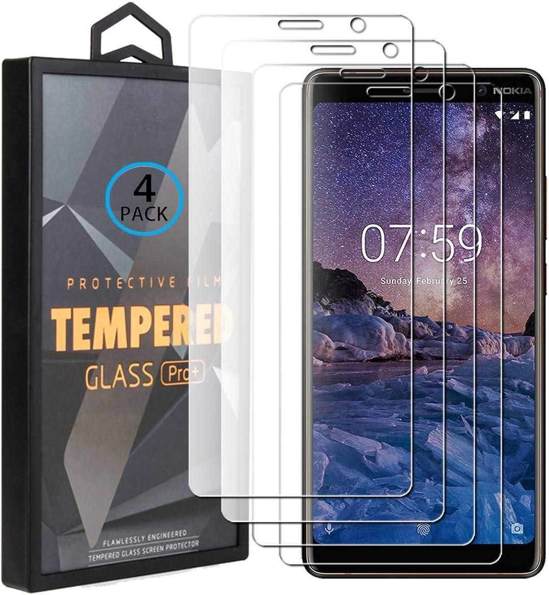 Ycloud 4 Pack Vidrio Templado Protector para Nokia 7 Plus, [9H Dureza, Anti-Scratch] Transparente Screen Protector Cristal Templado para Nokia 7 Plus