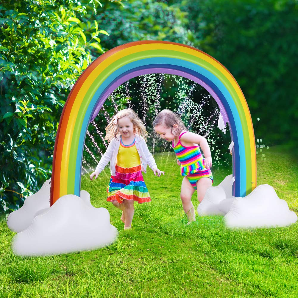Delicacy Sprinkler for Kids,Inflatable Rainbow Yard Sprinkler Summer Outdoor Water Splash Toy for Children and Toddlers by Delicacy
