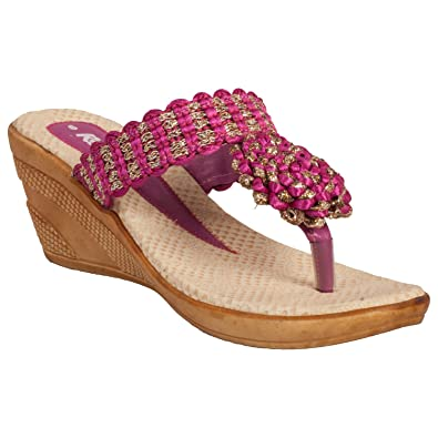 Image Unavailable. Image not available for. Color  Tulaasi Casual Designer Pink  Medium Heeled Sandal for Women b146edc080