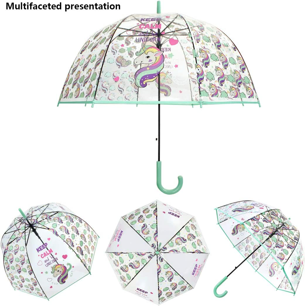 Saisong Clear Bubble Umbrellas with Unicorn Transparent Dome Umbrella Auto Open/Windproof for Kids Hot Pink