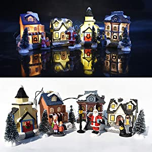 Aiboria Christmas Villages Set, Christmas Cabin Tiny Scene Snow Village Houses LED Light Up Luminous Collections Figurines Tabletop Ornaments Kids Gifts Indoor Home Holiday Decor(10 PCS)