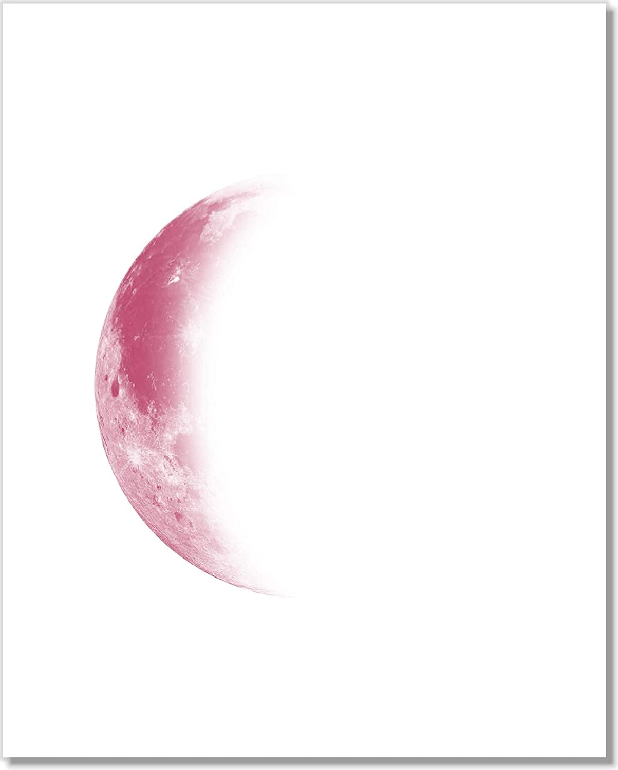 Moon Phases Art Prints Pink Moons Wall Decor Unframed 8x10 Set of 5