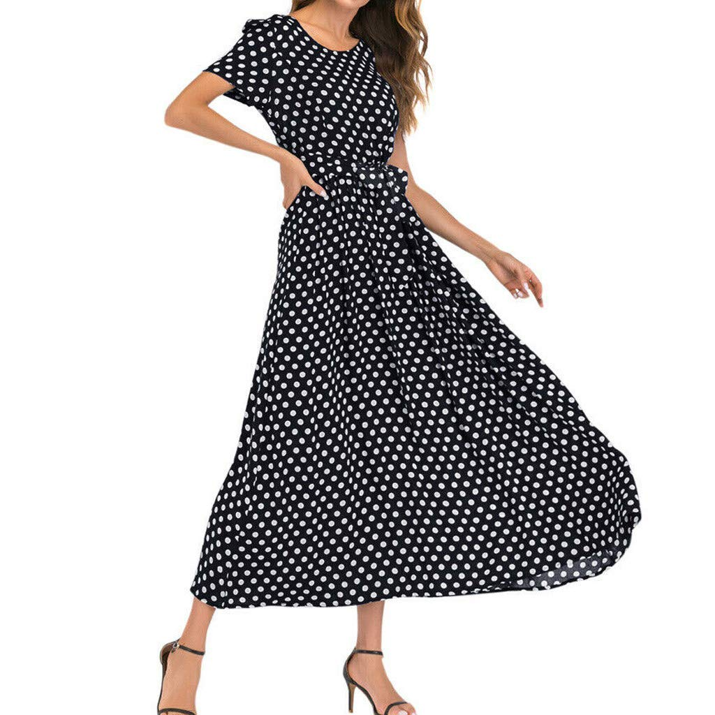 Nadition Fashion Women O-Neck Polka Dot Bandage Dress Ladies Short Sleeve Hight Waist Summer Flowy Long Maxi Dress