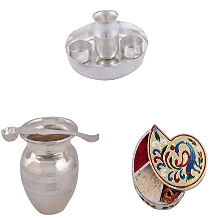 Silver Plated 6 inchi Pooja Set Silver Plated Pooja Kalsh Set and Gold Plated 4\u0026quot  sc 1 st  Amazon.in : silver plated pooja set - pezcame.com